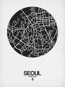 Seoul Street Map Black on White by NaxArt