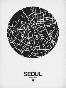 Seoul Street Map Black on White by NaxArt