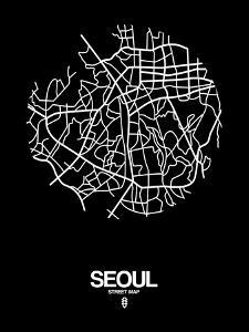 Seoul Street Map Black by NaxArt