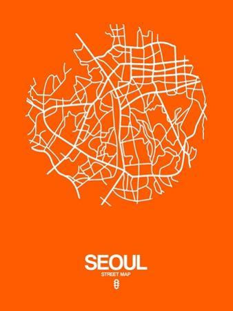 Seoul Street Map Orange by NaxArt