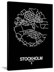 Stockholm Street Map Black by NaxArt
