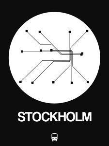 Stockholm White Subway Map by NaxArt