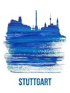Stuttgart Skyline Brush Stroke - Blue by NaxArt