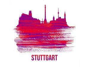 Stuttgart Skyline Brush Stroke - Red by NaxArt