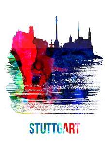 Stuttgart Skyline Brush Stroke - Watercolor by NaxArt