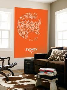 Sydney Street Map Orange by NaxArt