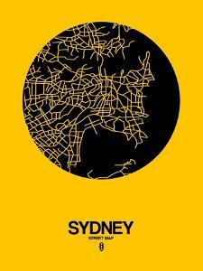 Sydney Street Map Yellow by NaxArt
