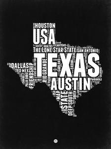 Texas Black and White Map by NaxArt