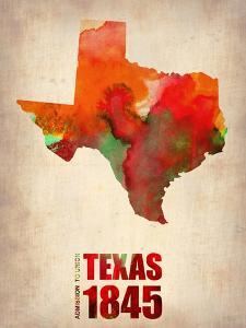 Texas Watercolor Map by NaxArt