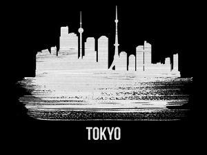 Tokyo Skyline Brush Stroke - White by NaxArt