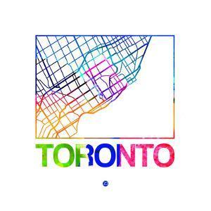 Toronto Watercolor Street Map by NaxArt