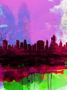 Tulsa Watercolor Skyline 2 by NaxArt