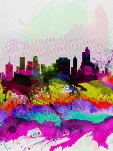 Tulsa Watercolor Skyline by NaxArt