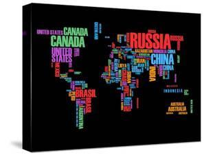 Typography World Map 1 by NaxArt