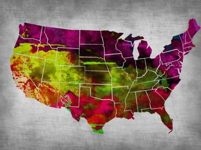 Usa Watercolor Map 4 by NaxArt