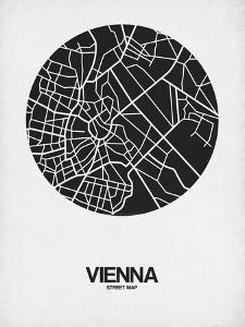 Vienna Street Map Black on White by NaxArt