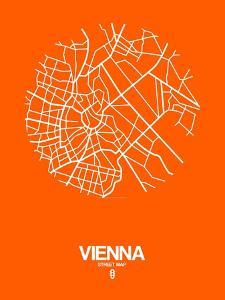 Vienna Street Map Orange by NaxArt