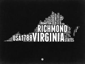 Virginia Black and White Map by NaxArt