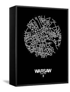 Warsaw Street Map Black by NaxArt