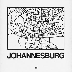 White Map of Johannesburg by NaxArt