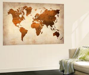 World maps artwork for sale posters and prints at art world map 7naxart wall mural gumiabroncs Images
