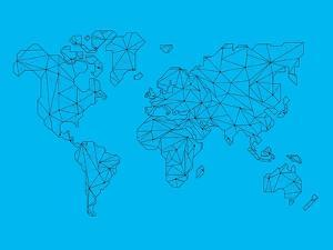 World Map Blue 1 by NaxArt