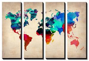Watercolor artwork for sale posters and prints at art world map in watercolor 1naxart gumiabroncs Gallery