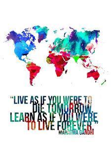 World Map Quote Mahatma Gandi by NaxArt