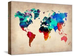 World maps canvas artwork for sale posters and prints at art world watercolor map 1 gumiabroncs Image collections