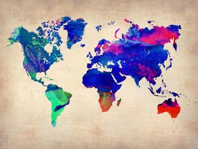 World Watercolor Map 2 by NaxArt