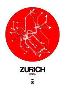Zurich Red Subway Map by NaxArt