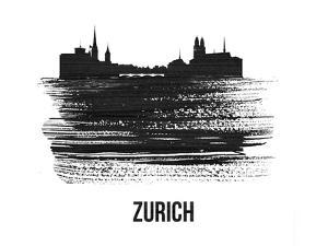 Zurich Skyline Brush Stroke - Black II by NaxArt