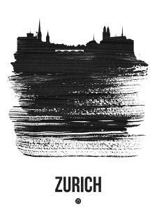 Zurich Skyline Brush Stroke - Black by NaxArt