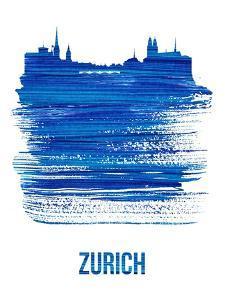 Zurich Skyline Brush Stroke - Blue by NaxArt