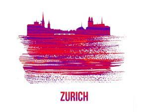 Zurich Skyline Brush Stroke - Red by NaxArt