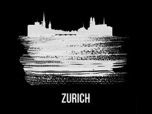 Zurich Skyline Brush Stroke - White by NaxArt
