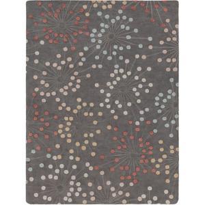 Naya Circles Area Rug - Deep Gray/Burnt Orange 5' x 8'