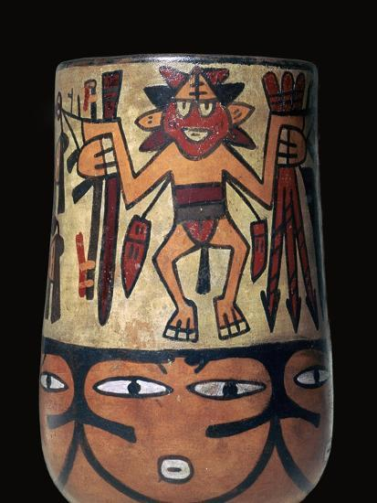 Nazca pottery vessel with two painted warriors, 2nd century. Artist: Unknown-Unknown-Giclee Print