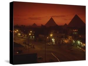 Nazlet El Samman, Town with Giza Pyramids, Sunset