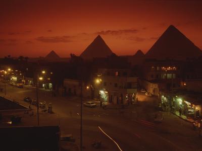 Nazlet El Samman, Town with Giza Pyramids, Sunset--Photographic Print
