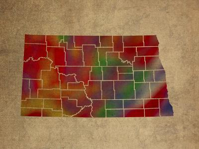 ND Colorful Counties-Red Atlas Designs-Giclee Print