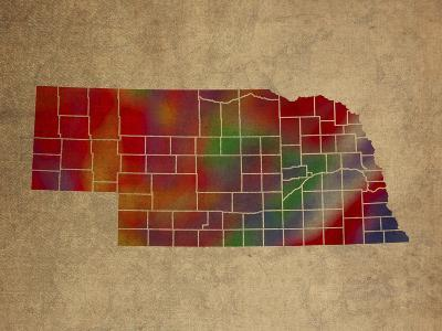 NE Colorful Counties-Red Atlas Designs-Giclee Print