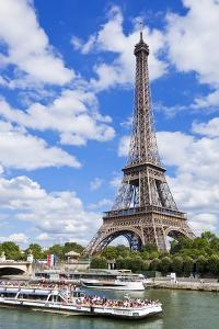 Bateaux Mouches Tour Boat on River Seine Passing the Eiffel Tower, Paris, France, Europe by Neale Clark