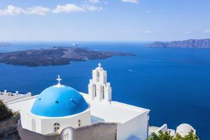 Blue Dome and Bell Tower Above Aegean Sea by Neale Clark