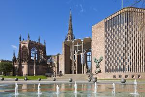 Coventry Old Cathedral Shell and New Modern Cathedral, Coventry, West Midlands, England, UK by Neale Clark