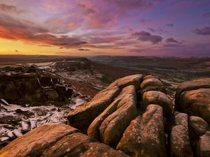 Frosty Winter Sunrise, Froggatt and Curbar Edge, Peak District National Park, Derbyshire, England,  by Neale Clark