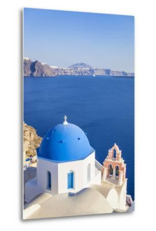 Greek Church with Blue Dome and Pink Bell Tower