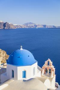 Greek Church with Blue Dome and Pink Bell Tower by Neale Clark