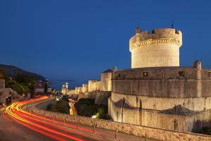 Minceta tower and city walls with traffic light trails, Dubrovnik Old Town, Dubrovnik, Dalmatian Co by Neale Clark
