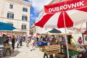 Open market in Gundulic Square, Dubrovnik Old Town, Dubrovnik, Dalmatian Coast, Croatia, Europe by Neale Clark